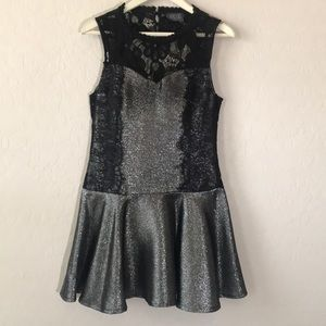 ASTR | Metallic Silver Black Lace Drop Waist Dress